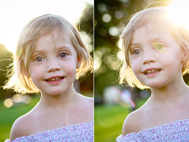 sun flare pre school girl portrait photograph